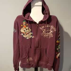 Don Rd Hardy designs tattoo hoodie embroidered